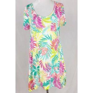 Fresh Produce  palm print short sleeve dress